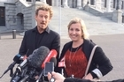 Redcliffs School spokesman Mark Robberds and Principal Rose McInerney speak after the Government's decision was announced.