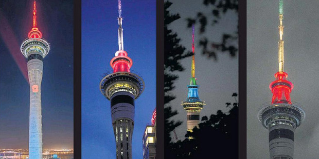 The Sky Tower lit up with a giant poppy, the Tri-Colour after terror in Paris, rainbow colours after the Orlando shooting and the Belgian flag colours after Brussels terror attacks.