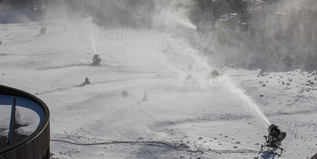 Snow guns running at Happy Valley, Whakapapa. Photo / Martyn Davies