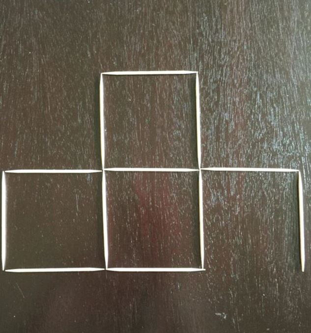 Move two: Take another toothpick from the left, and begin to form a square on the right. Photo / Quora