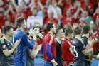 Wales' players salute their fans at the end of the Euro 2016 semifinal match between Portugal and Wales. Photo / AP