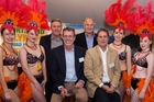 Mark Hager, Colin Batch, Terry Evans (NZ high-performance manager) and Richard Palmer (NZ events manager) with Whangarei Academy of Dance and Performing Arts members Teal Vint, Gillian Kent-Smith, Ceri-Ann Halliday and Page Massey.