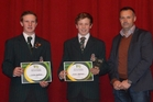 Winners of the 2016 TeenAg competition Callum (left) and Archie Woodhouse, with Aaron Ford of sponsor Southfuels. PHOTO/Supplied