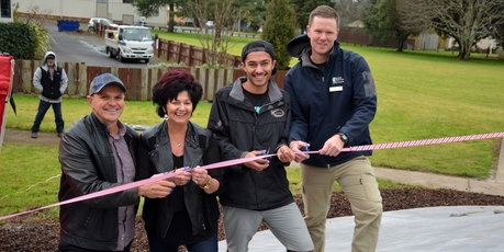Mike Shaw, Sally Maccauley, Christian Huriwai and Zane Wright shared the honour of cutting the ribbon.