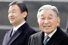 Crown Prince Naruhito, left, and Japan's Emperor Akihito in Tokyo. Photo / AP