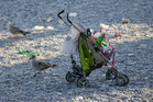 A baby carriage is left on the beach a day after a truck mowed through revelers in Nice, southern France, Friday. Photo / AP