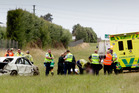 Rescue services at the scene of the crash where a two-year-old girl suffered fatal injuries. Photo / Hawkes Bay Today
