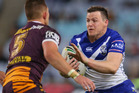 Brett Morris of the Bulldogs runs with the ball during the round 16 NRL match between the Canterbury Bulldogs and Brisbane Broncos. Photo / Getty Images.