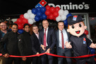 (from left) Nick Knight ANZ CEO; Harry Sing Franchisee; Laddi Sing Franchisee; Steve Pizziol Domino's International Asia Pacific, Don Meij, Group CEO; Scott Bush, NZ GM Photo credit/ Jo Caird.