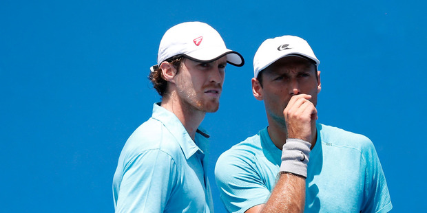 Marcus Daniell and Artem Sitak during the ASB Classic. Photo / Getty Images