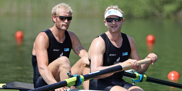 Eric Murray and Hamish Bond during the 2016 World Rowing Cup II at Rotsee. Photo / Getty Images