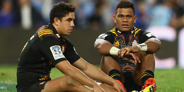 The physicality of Super Rugby could take a toll on players like Anton Lienert-Brown and Seta Tamanivalu of the Chiefs. Photo / Getty