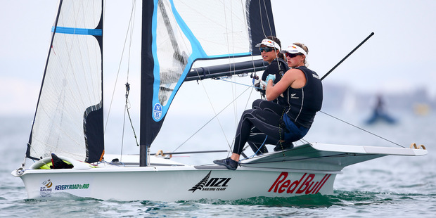 Alexandra Maloney and Molly Meech compete in the ISAF Sailing World Cup. Photo / Getty Images