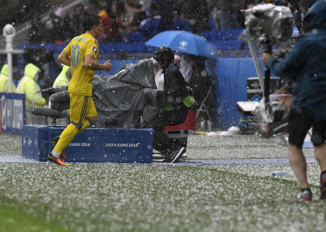 Hail falls during the Euro 2016 match between Northern Ireland and Ukraine. Photo / Getty