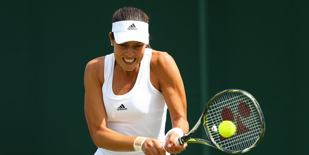 Ana Ivanovic during her first round match at Wimbledon. Photo / Getty Images