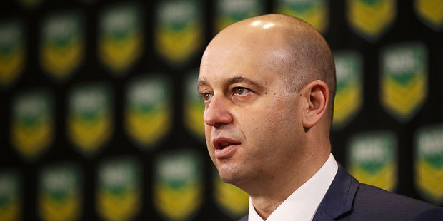 NRL CEO Todd Greenberg speaks to the media. Photo / Getty