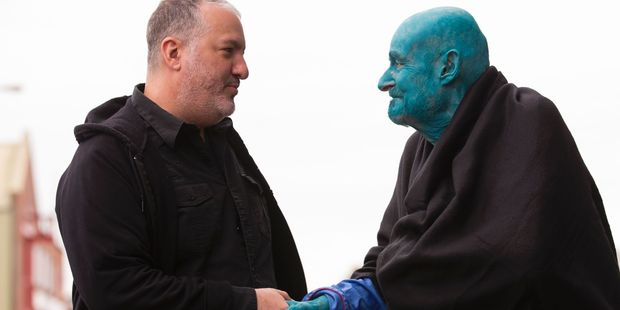 US artist Spencer Tunick, left, shakes hands with 80-year-old Belgian, Arizona-based art collector Stephane Janssen who has participated in 20 of Turnick's installations. Photo / AP