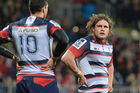 Jordy Reid of the Rebels looks dejected during their mauling by the Crusaders. Photo / Getty