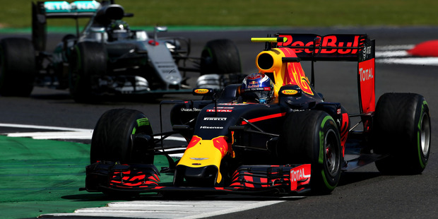 Max Verstappen leads Nico Rosberg during the British Grand Prix. Photo / Getty Images