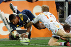 Waisake Naholo's acrobatic finish produced the Highlanders' opening try. Photo / Getty