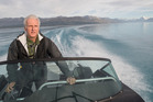 James Cameron on the water of Lake Pukaki.