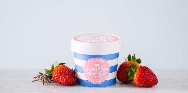 Today only you can try Lewis Road Creamery's strawberry flavoured ice cream. Photo / Supplied