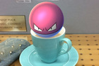A Voltorb landed in a teacup in the PokemonGo app game.