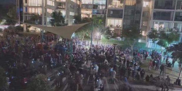 Crowds gather to hunt Pokemon in Rhodes, Sydney.  Photo / Facebook