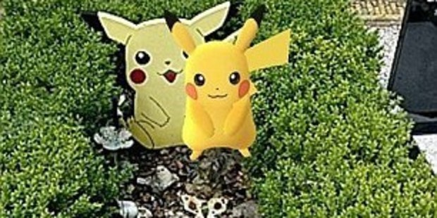 Pikachu appeared on the grave. Photo / Daily Mail