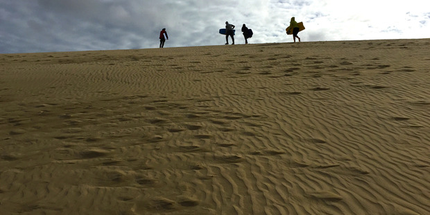 Sandboarders on the giant dunes at Te Paki, Northland. Photo / Mark Mitchell