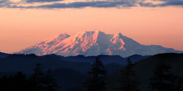 DAVE MAZEY'S OFFICE Mt Ruapehu at sunset from Whanganui. PHOTO/BEVAN CONLEY