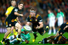 HAMILTON, NEW ZEALAND - MAY 07: Sam Cane of the Chiefs passes the ball during the round 11 Super Rugby match between the Chiefs and the Highlanders on May 7, 2016 in Hamilton, New Zealand. (Photo b