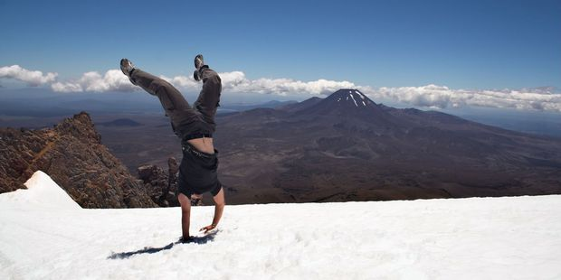 Loading Handstand on snow at Mt Ruapehu last week. Photo / Supplied