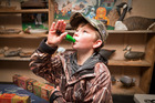 Luke Spargo, 10, shows off his duck calling skills at the NZ Duck Calling Champs. Photo/Andrew Warner.