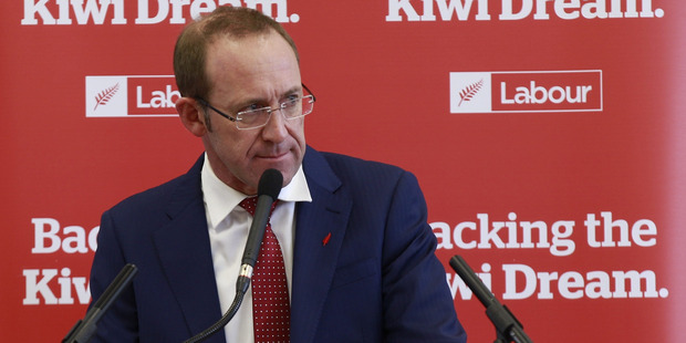 Labour leader Andrew Little announces policies to attack Aucklands housing crisis at New Lynn Community hall. Photo / Nick Reed