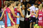 Southern Steel coach Noeline Taurua reacts to the last second win during the match between the Mystics and the Steel. Photo / Getty Images