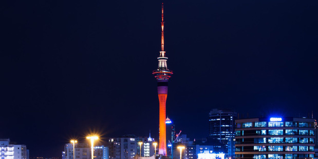 The Sky Tower will be lit up in orange again this week. Photo / Sky City