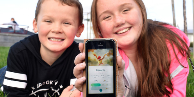 Loading POKEMON IN THE BAY: Campbell Davies 8, and Charlotte Davies, 12, have caught the Pokemon GO app fever, sweeping Tauranga. PHOTO/GEORGE NOVAK