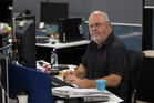 New Zealand Herald rugby writer Wynne Gray at his desk during his last week at the New Zealand Herald. Photo / Brett Phibbs