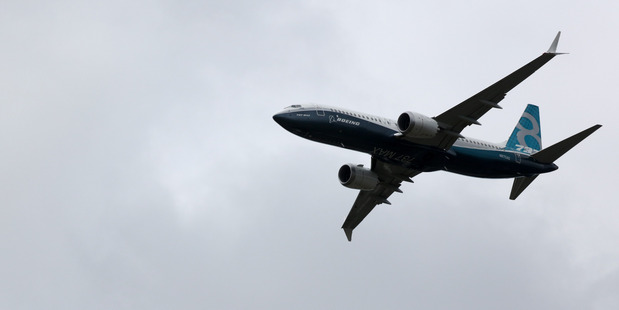 A Boeing Co. 737 max aircraft performs a flying display on the second day of the Farnborough International Airshow. Photo / Simon Dawson