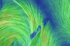 Wind flow map of New Zealand showing a strong (brighter colour) northerly flow over the South Island as an unstable airmass crosses the country from the south-west.