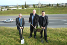 Tauranga Mayor Stuart Crosby, Bay of Plenty MP Todd Muller and NZTA acting Waikato/Bay of Plenty regional manager Dennis Crequer turned the first sod of the Poike Rd overbridge. Photo/John Borren