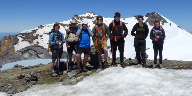Rotorua's Shane Lash (fourth from the left) during a trip to Mt Ruapehu in January.