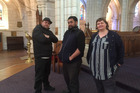 Former rough sleepers Richard Turipa, left, and Rob Smith with their theatre tutor Bronwyn Bent at St-Matthew-in-the-City. Photo / Simon Collins