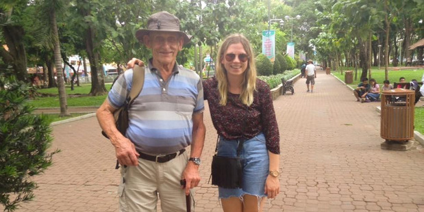 Sam Olley, 21, and her grandfather, Bill Macalister, 82. Photo / Supplied