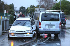 A van and and car collided on Cambridge Rd this morning. Photo/John Borren