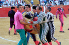 Spanish bullfighter Victor Barrio, 29, is carried out from the bullring after being gored. Photo / EPA