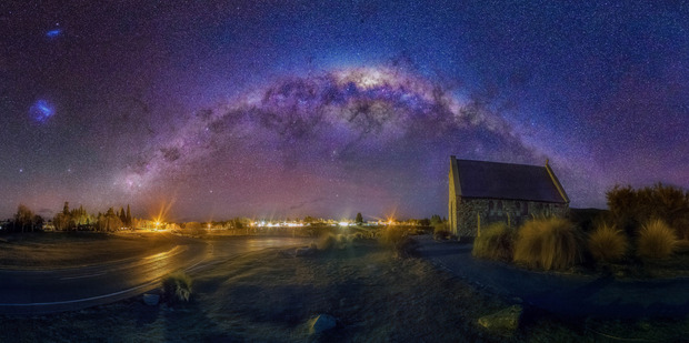 The famous Church of the Good Shepherd looks even better framed by the Milky Way. Photo / Caters News