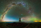 Paul Wilson captures the Waipapa Point Lighthouse, framed by the Milky Way. Photo / Caters