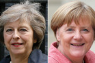 Britain's new Prime Minister, Theresa May, and Chancellor Angela Merkel of Germany will need to sort out the Brexit mess. Photo / AP